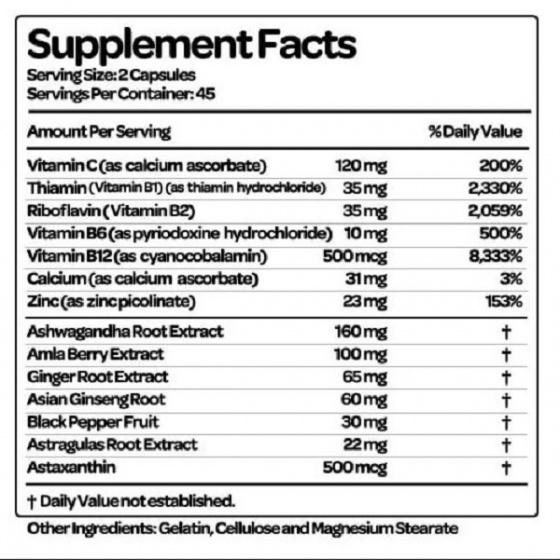 Adrenal Support™  detox lọc tuyến thượng thận, chống oxy hóa và chống viêm chai 90 Viên