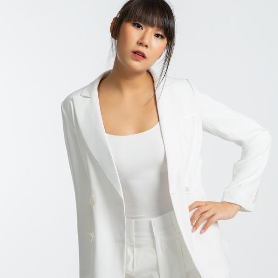 Áo khoác blazer thời trang thiết kế Hity TOP111 xếp ly (trắng kim cương)
