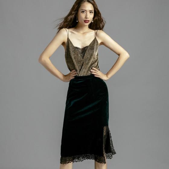 Váy nhung thời trang thiết kế Hity SKI032 phối ren (xanh hunter)