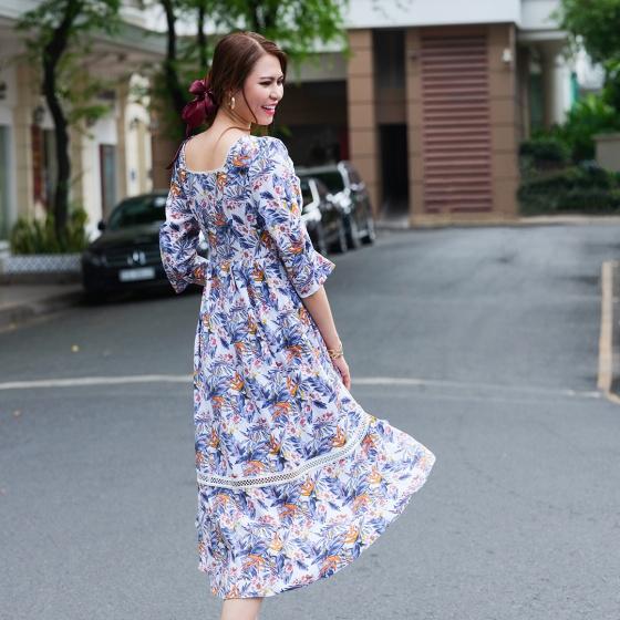 Đầm midi hoa thời trang thiết kế Hity DRE123 (in collage)