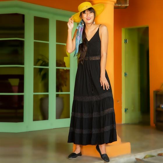 Đầm maxi thời trang thiết kế Hity DRE098 hai dây (đen huyền bí)