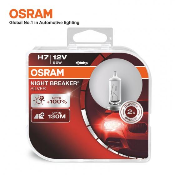Bóng đèn halogen tăng sáng 100 OSRAM NIGHT BREAKER SILVER H7 12v 55w