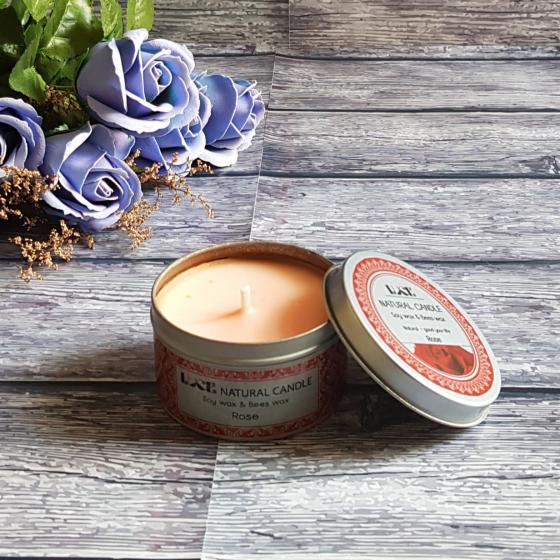 Nến thơm sáp ong ECOLIFE - Aroma Candles Rose Tin
