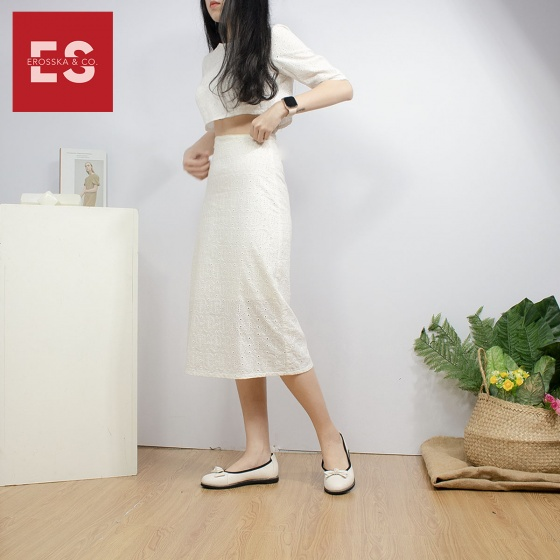 Giày búp bê Erosska thời trang thanh lịch đế bằng bít mũi đính nơ xinh xắn EF005