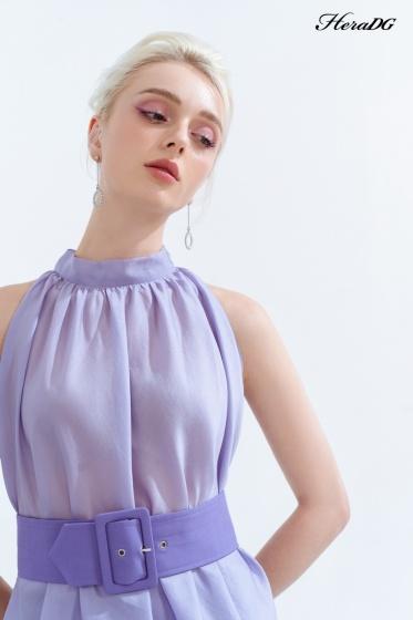 Áo sát nách buộc nơ cổ tím lilac SAK20110
