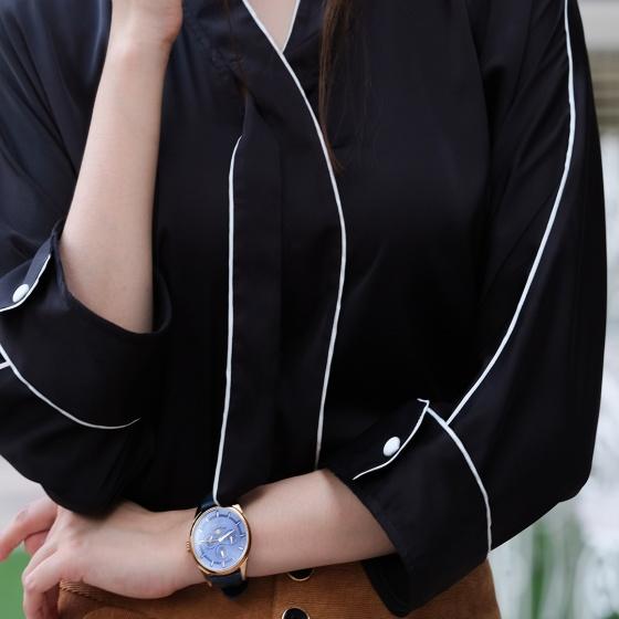 Áo viền tương phản áo kiểu nữ cao cấp thời trang thiết kế Hity TOP144 (Đen Huyền Bí)