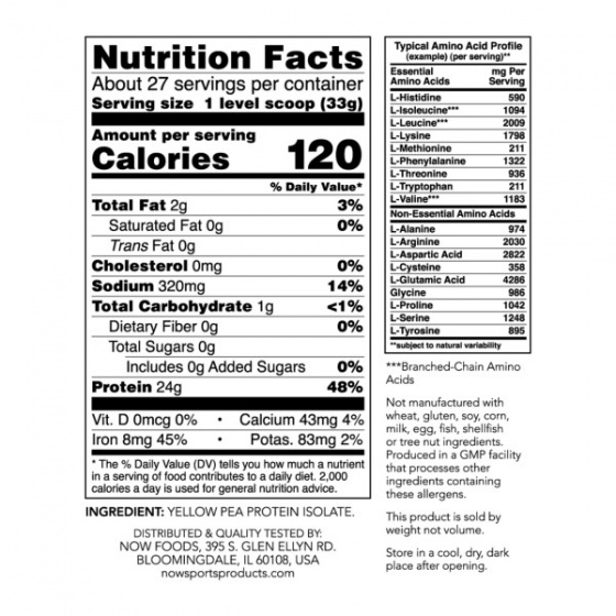 Pea Protein, Pure Unflavored Powder - Dành cho người luyện tập thể thao ăn chay hoặc dị ứng với sữa 907 gram
