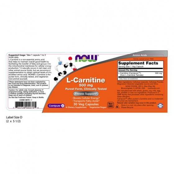 L-carnitine 500 mg - hỗ trợ phòng ngừa các bệnh tim mạch, giúp hỗ trợ hồi phục cơ bắp chai 30 viên