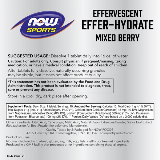 Effer-Hydrate Effervescent Mixed Berry - VIÊN BÙ KHOÁNG PHỤC HỒI NHANH, Dành cho người luyện tập (Hương Dâu Rừng - 10 Viên xủi)