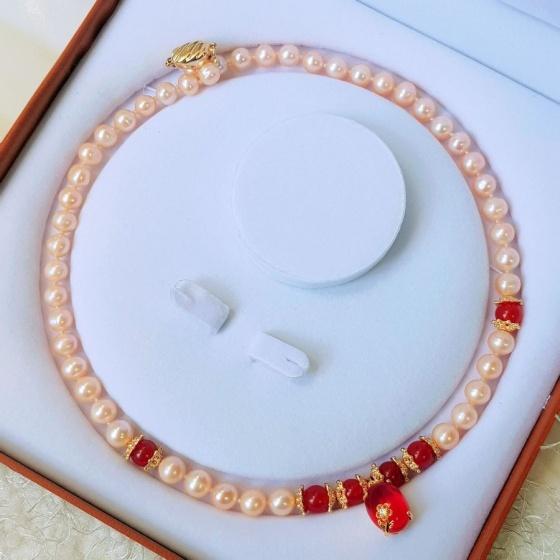 Vòng cổ Ngọc trai Cao cấp - ChuỗI đơn tròn Mix đá mã não - Quà tặng mẹ - NullanPearl (8ly) - CTJ2311