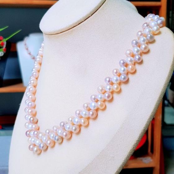 Vòng cổ Ngọc trai nước ngọt Thiên nhiên Cao cấp - Chuỗi kết hạt tròn cách điệu - SamiPearl (6-7ly) - CTJ3711