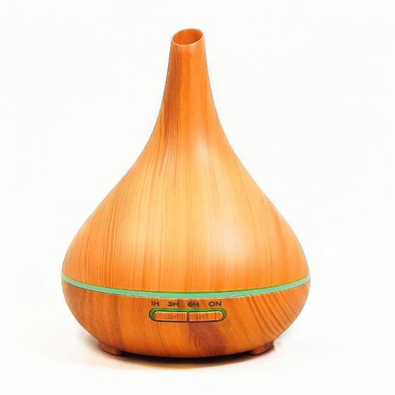 Máy khuếch tán tinh dầu bình tửu vân gỗ vàng FX2042 + tinh dầu sả chanh + bưởi chùm Lorganic (10ml x 2)