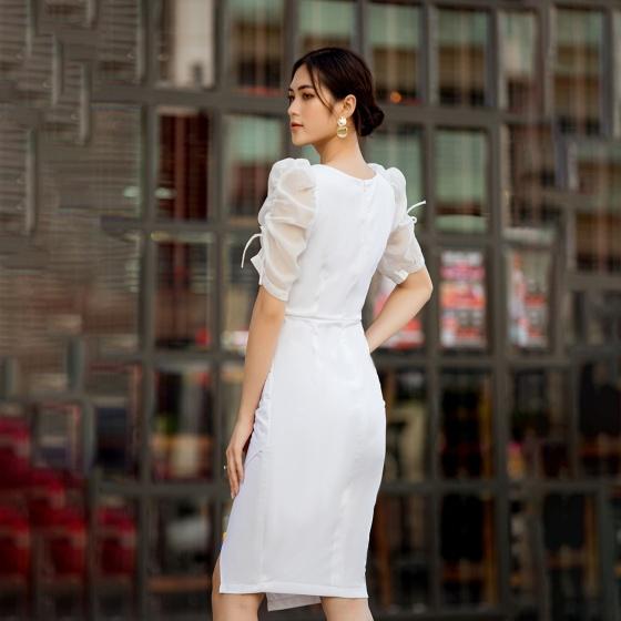 Váy đầm nữ thời trang Eden cổ vuông tôn dáng - D423