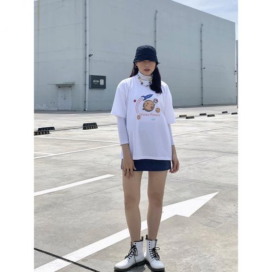 Áo thun, áo phông unisex phom rộng tay lỡ Thời trang Eden - ATT003