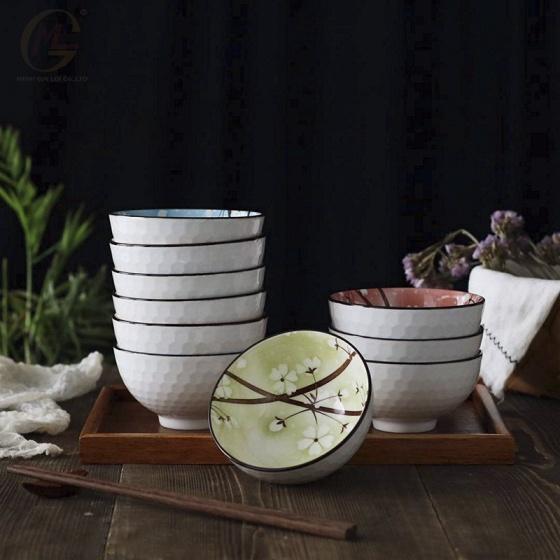 Bộ 6 chén (bát) cơm sứ phong cách Nhật Bản hoa văn bốn mùa rực rỡ Kachi MK253