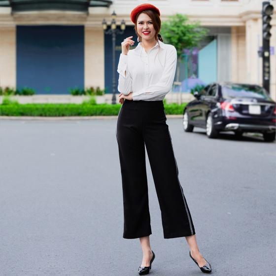 Quần lửng ống rộng quần culottes thời trang thiết kế Hity PAN048 (đen huyền bí)