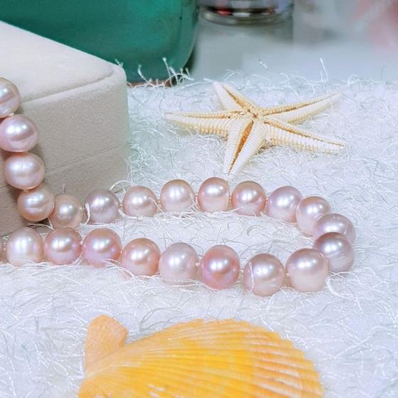 Vòng cổ Ngọc trai nước ngọt thiên nhiên Cao cấp - ChuỗI đơn phú quý - GinaPearl (12ly) - CTJ0712
