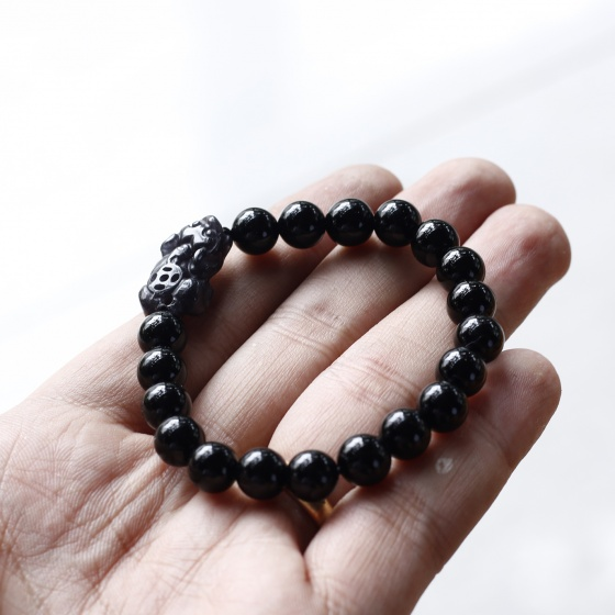 Vòng tay đá Obsidian phối tỳ hưu đá 8mm mệnh thủy, mộc - Ngọc Quý Gemstones
