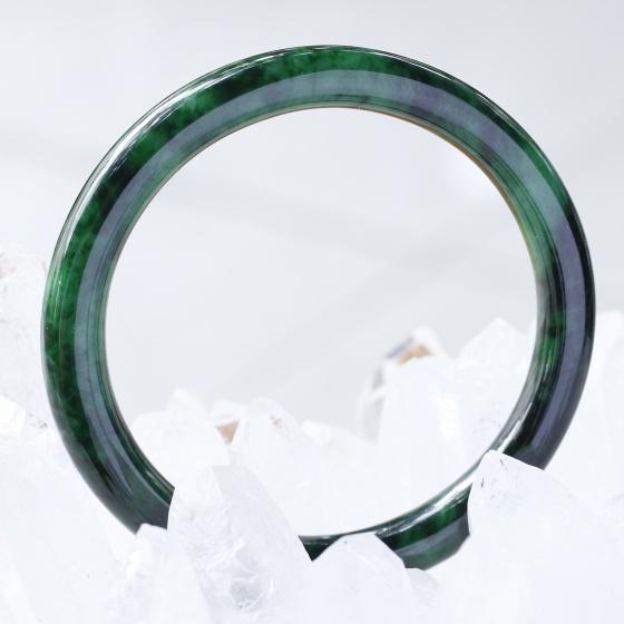 Vòng tay liền khối đá cẩm thạch sơn thủy bản tròn ni52 mệnh hỏa, mộc - Ngọc Quý Gemstones