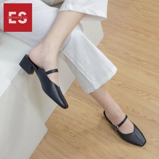 Dép cao gót Erosska thời trang mũi vuông phối dây quai mảnh kiểu dáng thanh lịch cao 4cm EL017