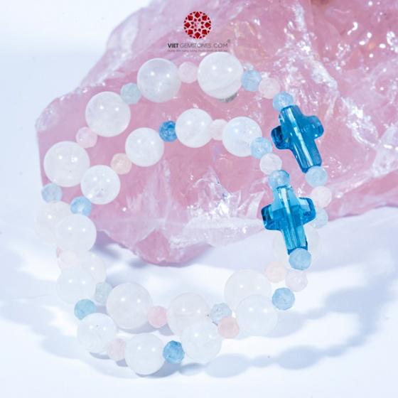 Chuỗi Mân Côi dành cho Mẹ và Bé Đá MOONSTONE, Thánh Giá Pha Lê, xen kẻ các hạt nhỏ đá Beryl, BMOOM01, Vietgemstones