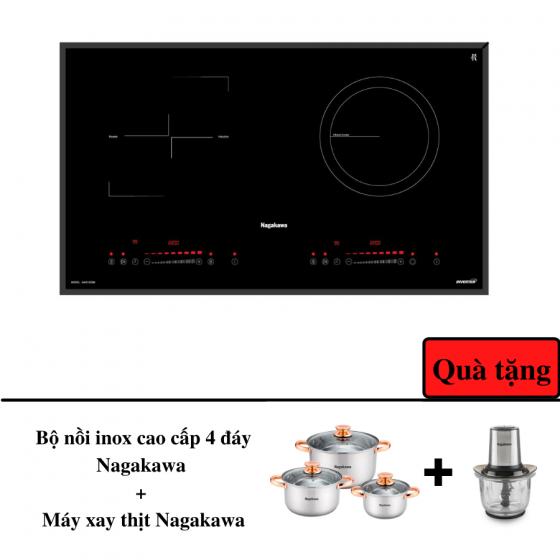 Bếp đôi điện từ hồng ngoại inverter Nagakawa NAG1202M - bảo hành 5y - Malaysia tặng bộ nồi + máy xay thịt