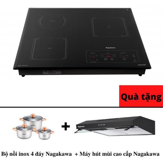 Bếp 3 lò điện từ hồng ngoại inverter Nagakawa NAG1253M - bảo hành 5 năm - Malaysia - tặng bộ nồi + hút mùi