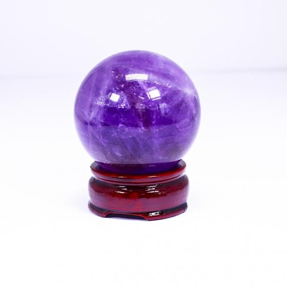 Quả cầu đá thạch anh tím đường kính khoảng 40mm mệnh hỏa. thổ - Ngọc Quý Gemstones