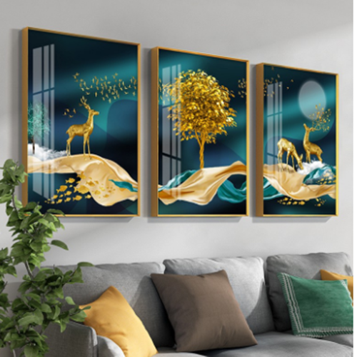 Bộ 3 tranh tráng gương hươu sao sắc màu  cao cấp gd43