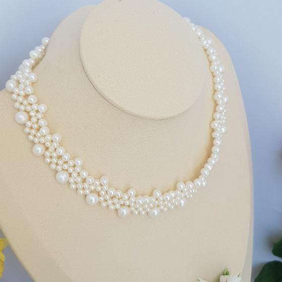 Vòng cổ Ngọc trai Thiên nhiên Cao cấp - Chuỗi kết hoa Chùm sao - Point Pearl (3-7.5ly) - CTJ1405
