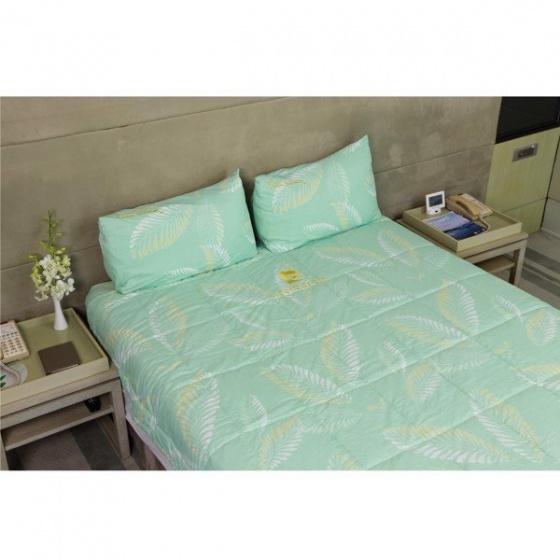 Bộ drap gối lá xanh ngọc tencel silky Pierre Cardin