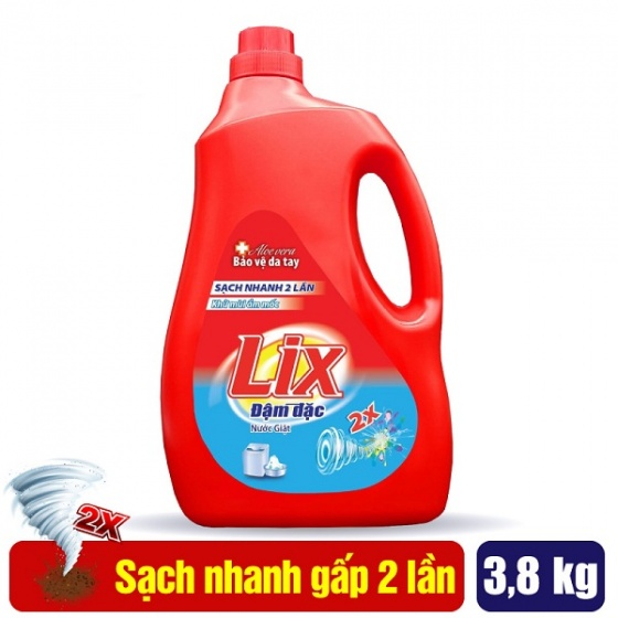 Nước giặt Lix đậm đặc hương hoa 3.8Kg, tẩy sạch cực mạnh vết bẩn - NG381-NG390