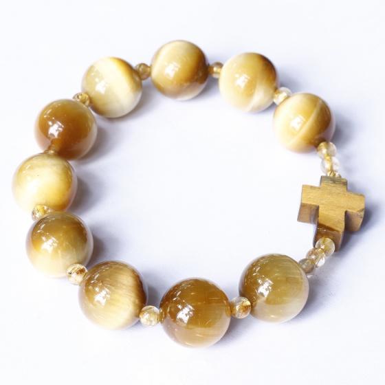 Vòng chuỗi mân côi thánh giá đá thạch anh mắt hổ vàng tâm - Ngọc Quý Gemstones