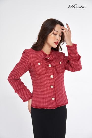 Áo khoác dạ tweed đỏ HeraDG - WKH20012