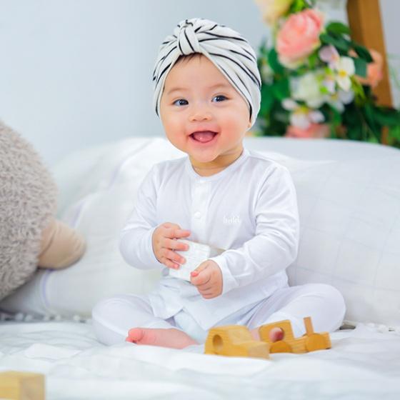 Bộ dài tay cho bé cài giữa vải gỗ sồi Haki (newborn - 3y) BM003