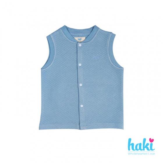 Áo gile cho bé - vải sợi tre chần bông cổ bo Haki (3m - 24m) BB018