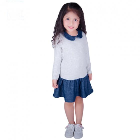 Váy bé gái đuôi cá cổ sen Haki (2-8y)