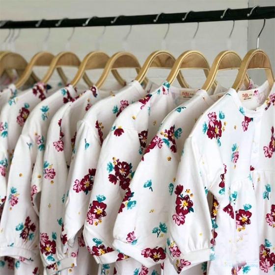Váy bé gái hoa tím - hồng Haki (2-8y)