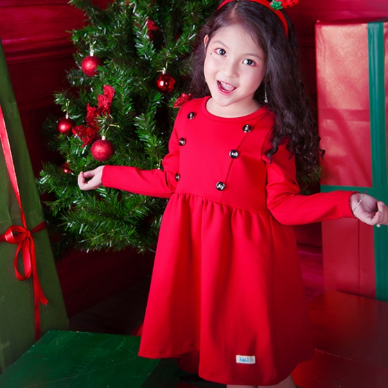 Váy bé gái đỏ Happy princess Haki (2-4y)