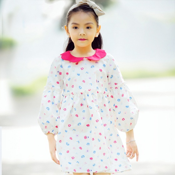 Váy bé gái hoa bèo tay cổ Peter Pan sắc màu Haki (2-8y)