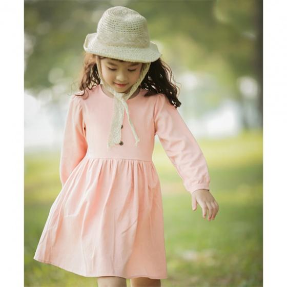 Váy bé gái linen đính cúc Haki (2-8y)
