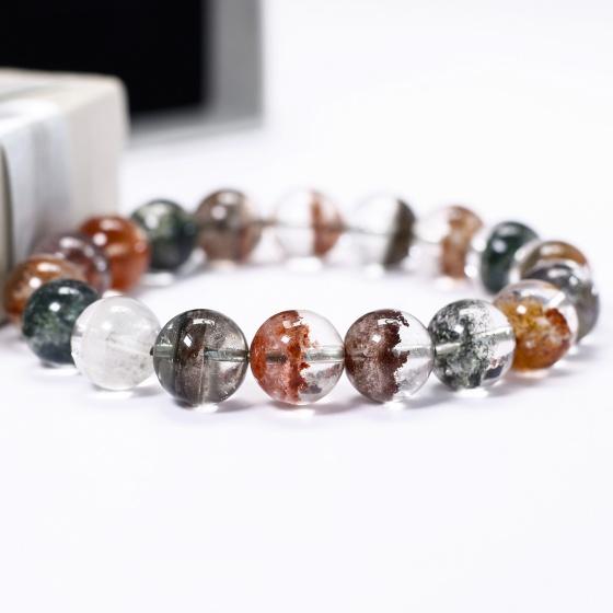 Vòng tay đá thạch anh ưu linh đa sắc 12mm - Ngọc Quý Gemstones