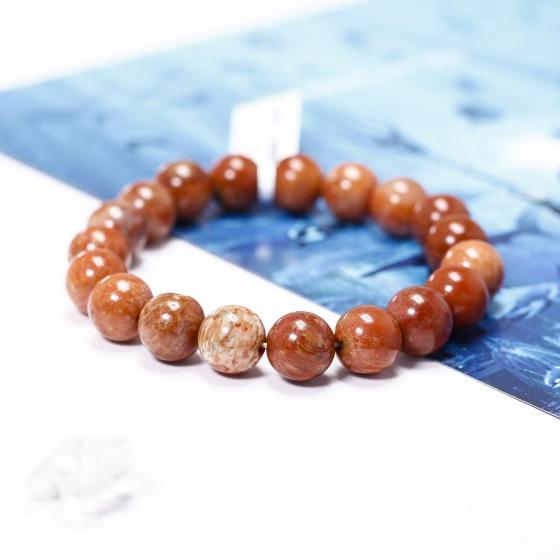 Vòng tay trơn đá san hô hóa thạch 10mm mênh hỏa, thổ - Ngọc Quý Gemstones