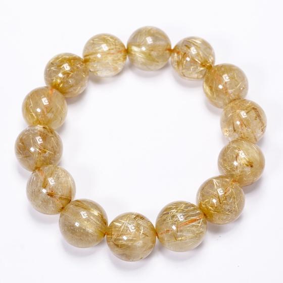 Vòng tay trơn đá thạch anh tóc vàng 15mm mệnh thủy, kim - Ngọc Quý Gemstones