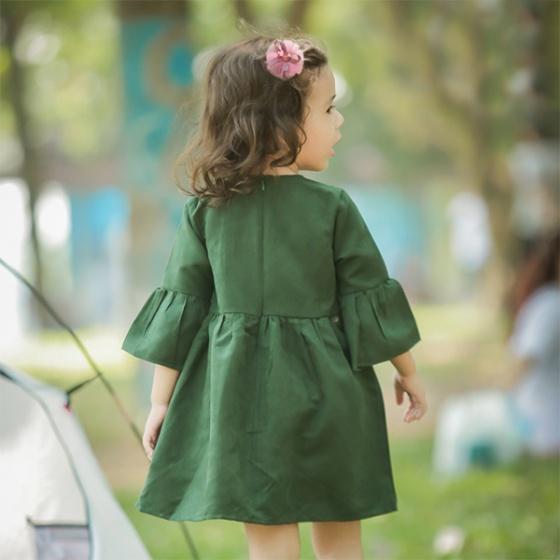 Váy bé gái Váy da lộn phối ren + Đầm cho bé gái các size từ 2-8 khoảng 10 đến 25kg Haki HK491
