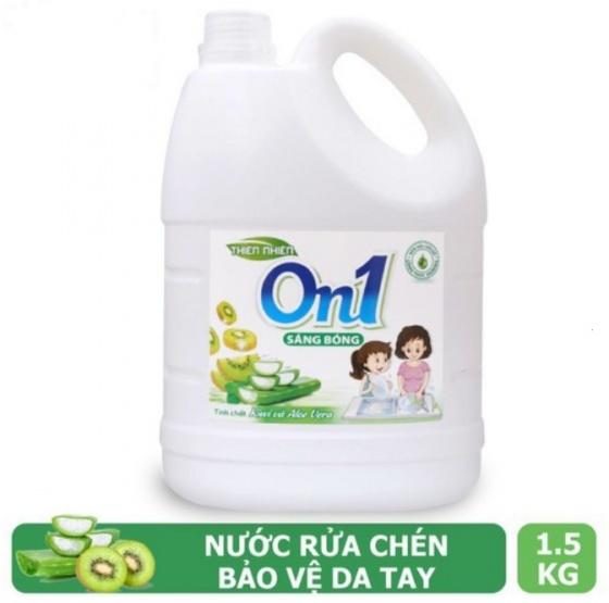 Nước rửa chén On1 hương kiwi và aloe vera 1.5Kg - Sạch bóng vết dầu mỡ N4ON1