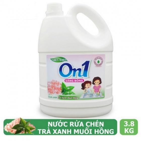 Nước rửa chén On1 hương muối hồng trà xanh 3.8Kg - Sạch bóng vết dầu mỡ M5ON1