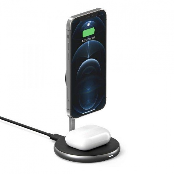 Bộ sạc không dây Hyperjuice Magnetic 2 In 1 Wireless Charging Stand Iphone 12 Series Airpods (HJ461-GR)