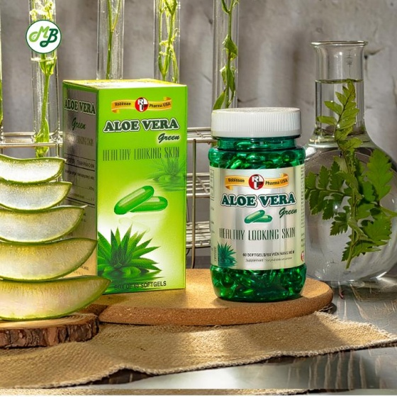 Viên uống đẹp da,hỗ trợ giữ ẩm cho da,nhuận tràng -Aloe Vera green - chai 60 viên