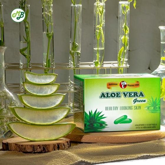 Viên uống đẹp da,hỗ trợ giữ ẩm cho da,nhuận tràng ALOE VERA GREEN - hộp 60 viên